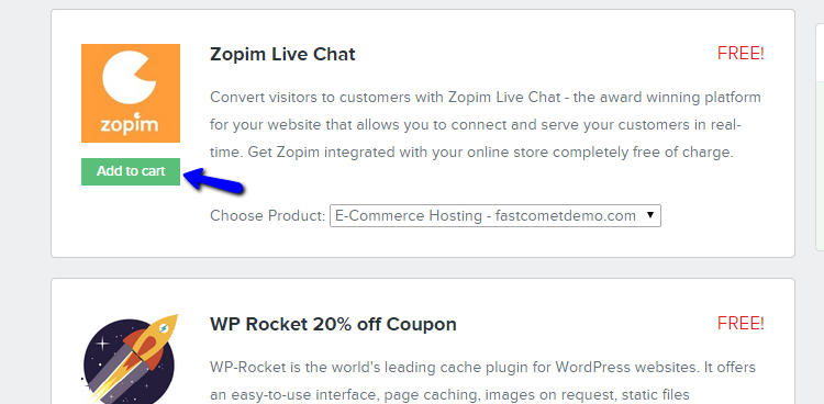 FAstComet Get Zopim Live Chat Addon