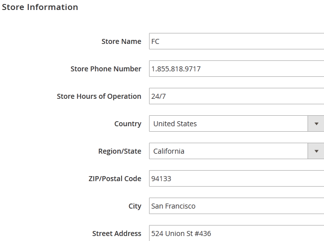 Filling out the Store Information in Magento 2