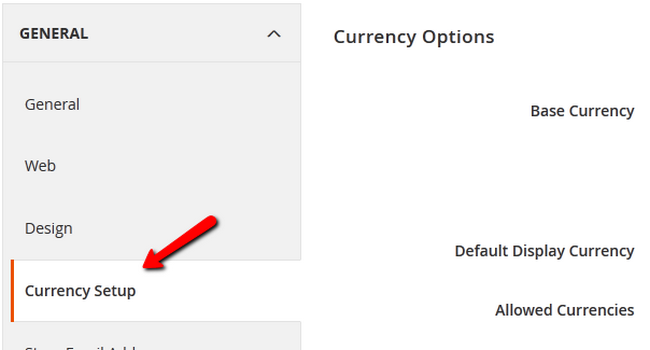 Accessing the Currency Setup page in Magento 2