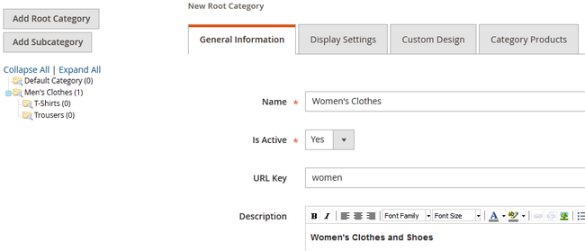 Creating a New Root Category for your products in Magento 2