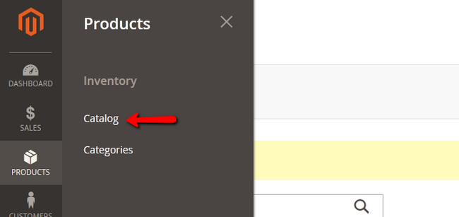 Accessing the Product Catalog menu in Magento 2