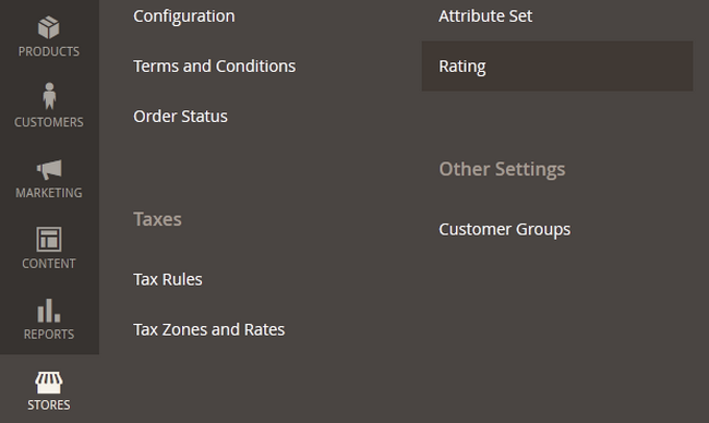 Accessing the Rating menu in Magento 2
