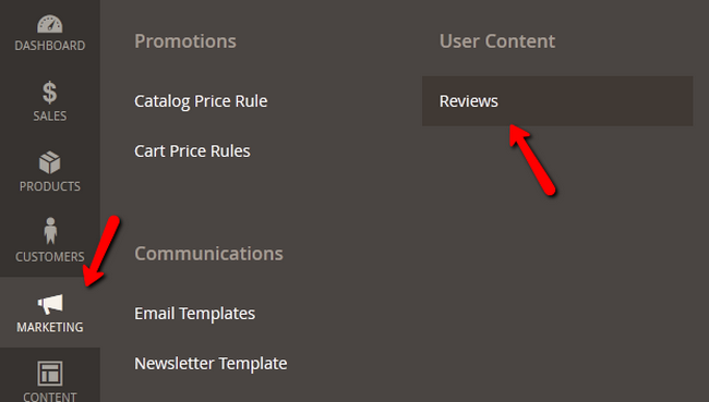 Navigating to the Users' Reviews section in Magento 2