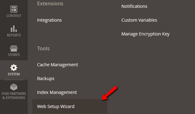 Accessing the Web Setup Wizard menu in Magento 2