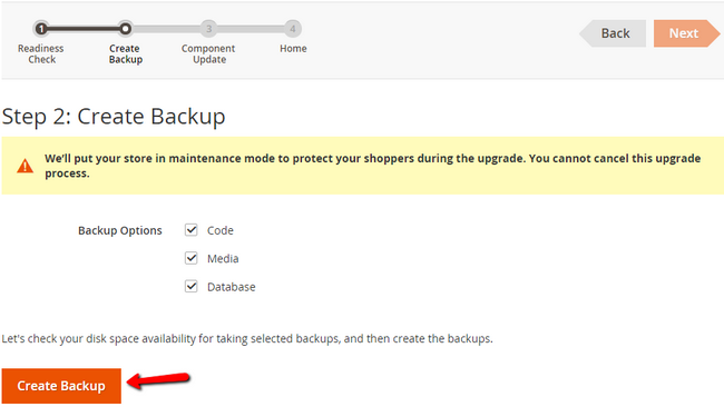 Creating a Backup before the extension install