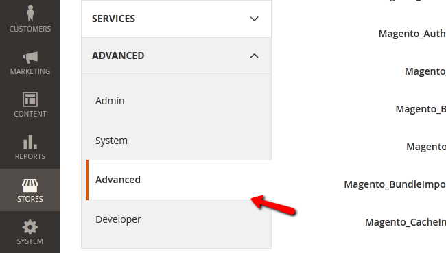 Accessing the Advanced section of your Magento 2 Configuration menu