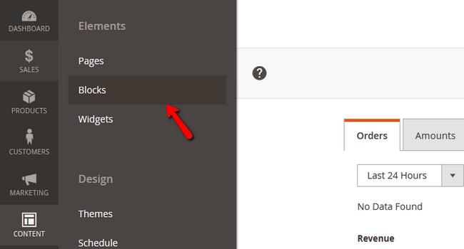 Accessing the Blocks menu in Magento 2