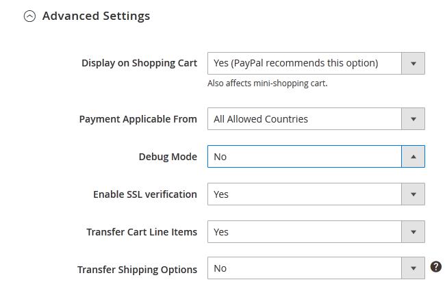 PayPal Express Checkout Advanced Settings