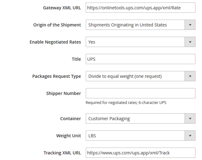 UPS Shipping Configuration Settings