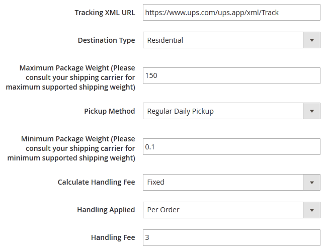 UPS Handling Fee and Package Weight settings