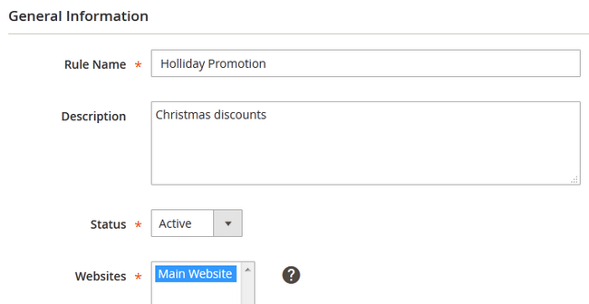 Configuring the General Information of New Promotion in Magento 2