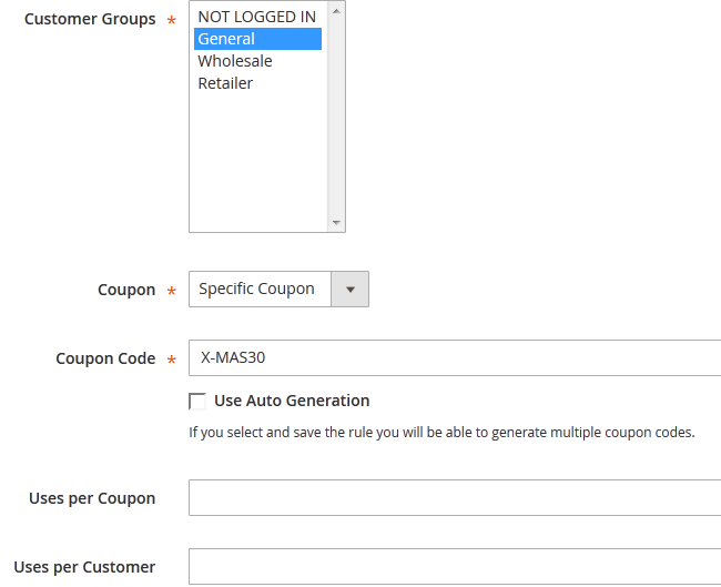 Configuring Discount Coupons for a Promotion in Magento 2