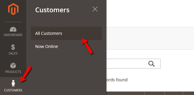 Accessing the Customers menu in Magento 2