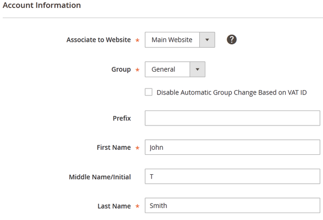 Filling the Customer's Account Information