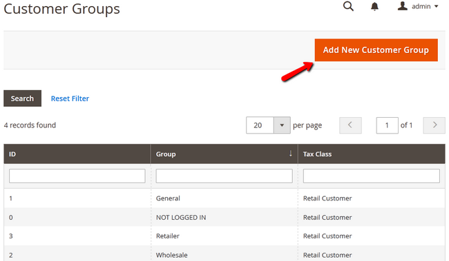 Adding a New Customer Group in Magento 2