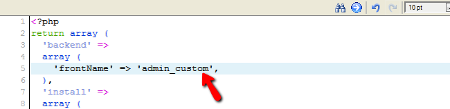 Changing the Admin URL value in the env.php file