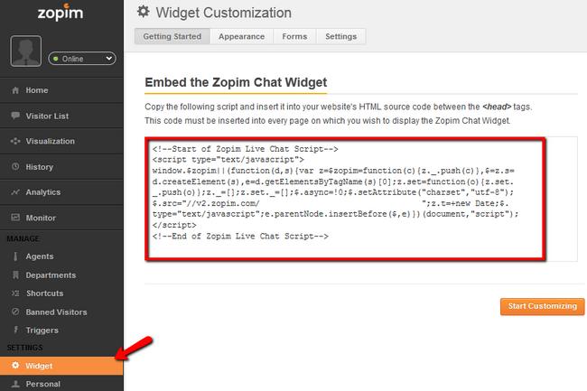 Copying the Zopim script from the widget menu of your zopim account