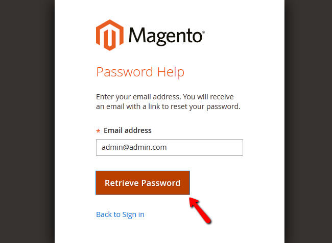 Retrieving your admin Password via your admin email