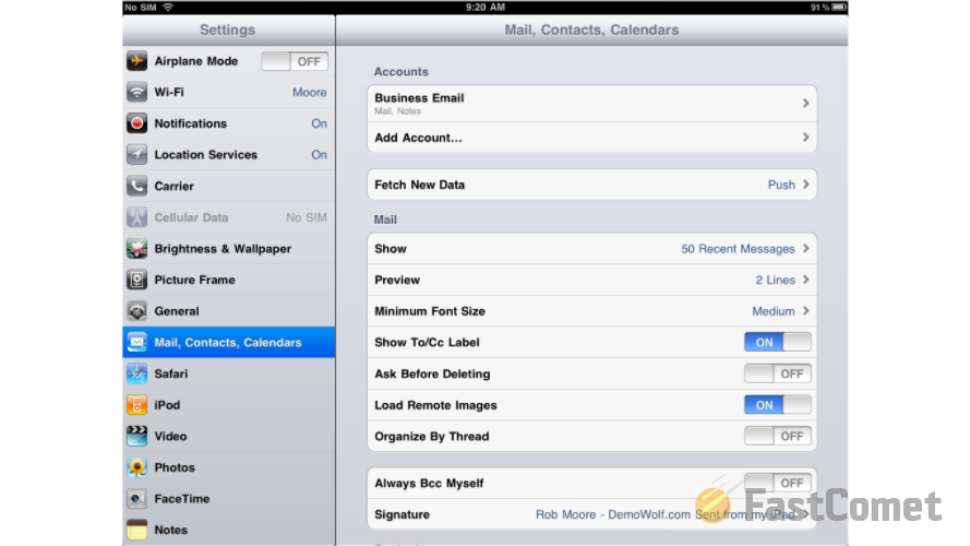How To Configure Pop3 Account Ipad Tutorial Fastcomet