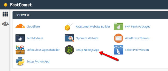 how to access the nodejs Selector via cPanel