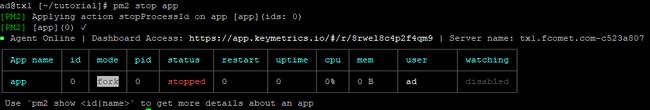 Stopping a nodejs application via pm2