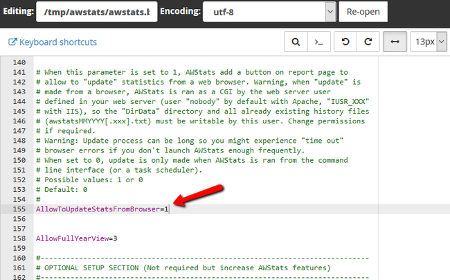 Enabling the awstats update button