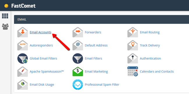 Accessing the Email Accounts section via the FastComet cPanel