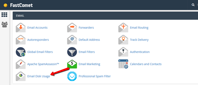 Accessing the email disk usage feature via cPanel