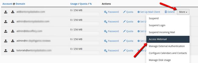 Accessing Webmail via cPanel