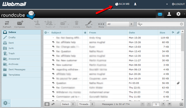 Accessing the email disk usage via the webmail