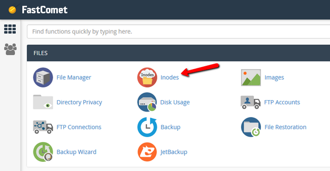 Accessing the Inode Usage tool via cPanel