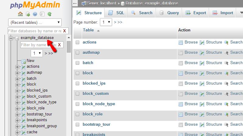 selecting-database-in-phpmyadmin