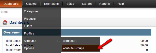 OpenCart Attribute Groups