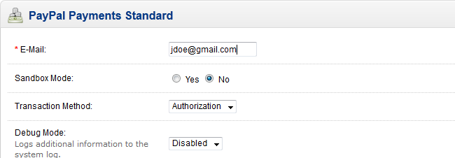 OpenCart PayPal Standard