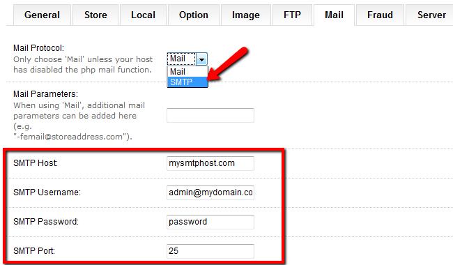 OpenCart SMTP Settings