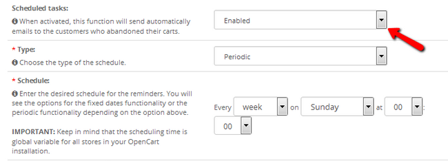 Configuring a Schedule for AbandonedCarts