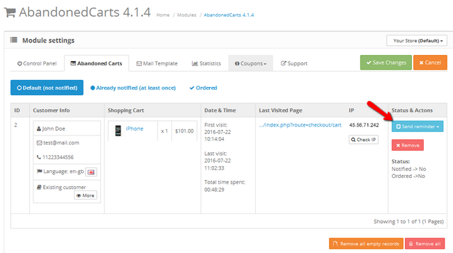 Preview of an abandoned cart in OpenCart 2