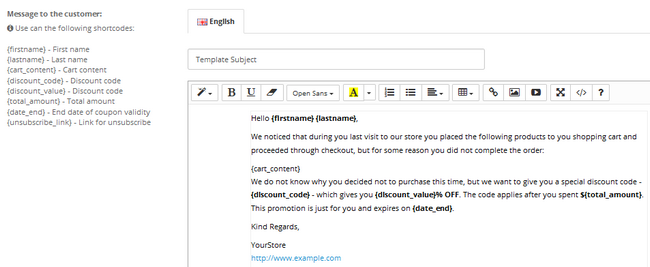 Configuring the email template for your customers