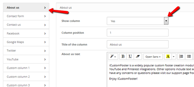 Editing the different columns provided by iCustomFooter