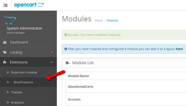 Accessing the Modifications panel in OpenCart 2