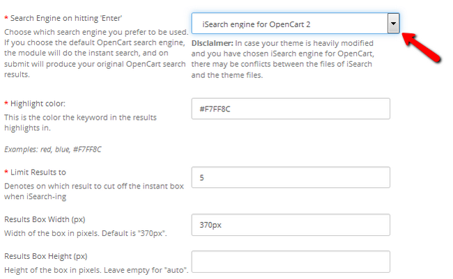 Configuring the iSearch options in OpenCart 2