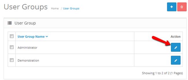 Editing the Adminisitrators User Group settings