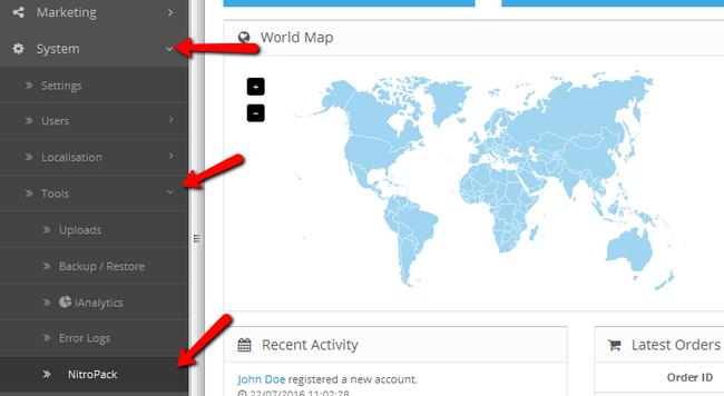 Navigating to the Tools menu in OpenCart 2