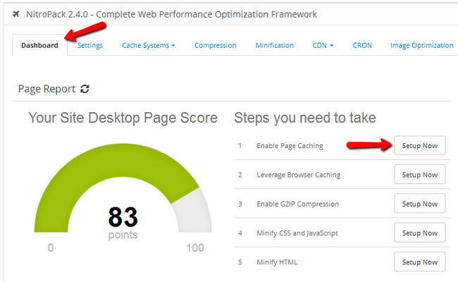 NitroPack Dashboard navigation to Page Caching