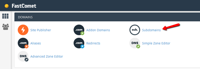 Accessing the Subdomains feature in cPanel