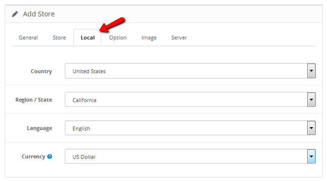 Configuring the Local Settings of your OpenCart 2 Store