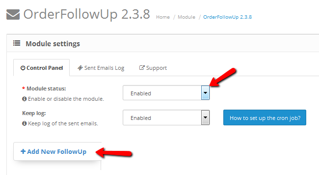 Enabling the OrderFollowUp extension and adding a new follow up