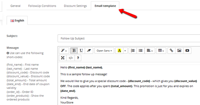 Modifying the email template for an Order Follow up