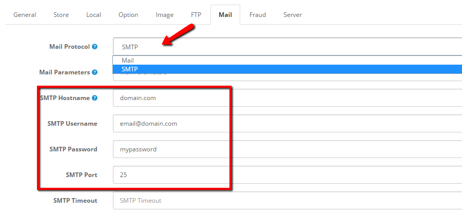 OpenCart 2 SMTP Configuration Settings