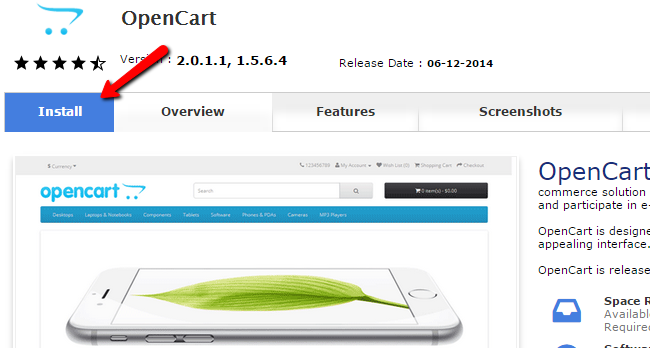 Install OpenCart Softaculous